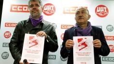 Los secretarios generales de CCOO, Unai Sordo, y UGT, Pepe Álvarez. (Foto: EFE)