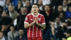 James Rodríguez pidió perdón, tras marcar en el Bernabéu (AFP).