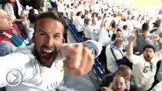 Álvaro Ojeda celebrando el pase del Real Madrid a la final de Champions en Kiev.