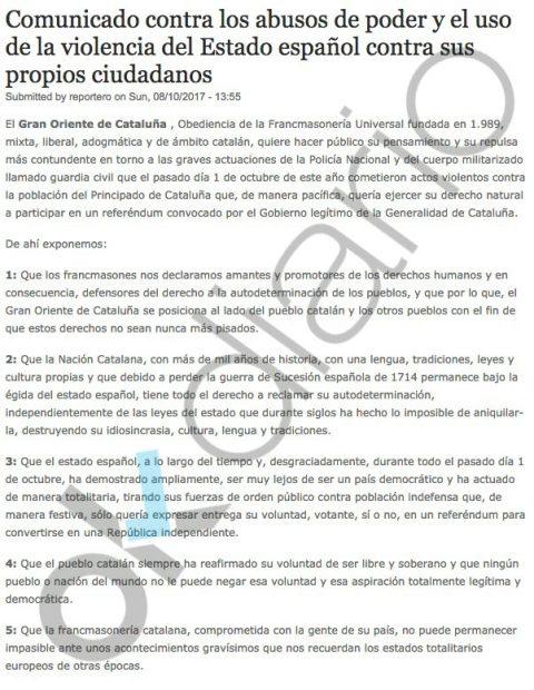 Los masones a los que pagaba Puigdemont divulgaron internacionalmente informes contra España