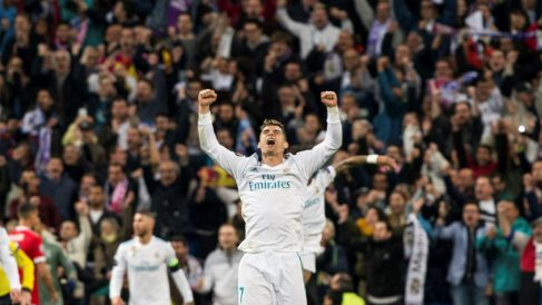Cristiano Ronaldo celebra la clasificación del Real Madrid para la final de la Champions League. (EFE)   Real Madrid – Liverpool   Final de la Champions League