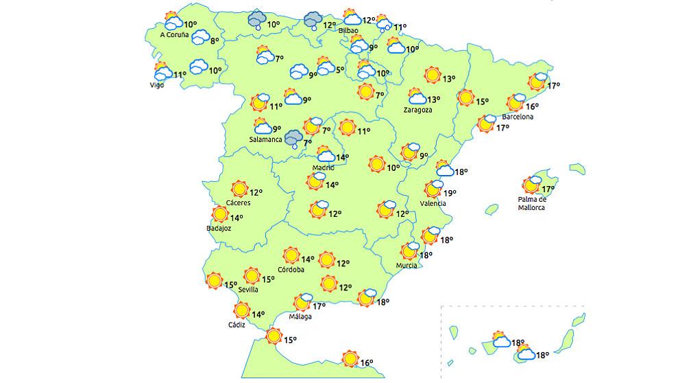 Previsión del tiempo para el 3 de mayo de 2018. (eltiempo.es)