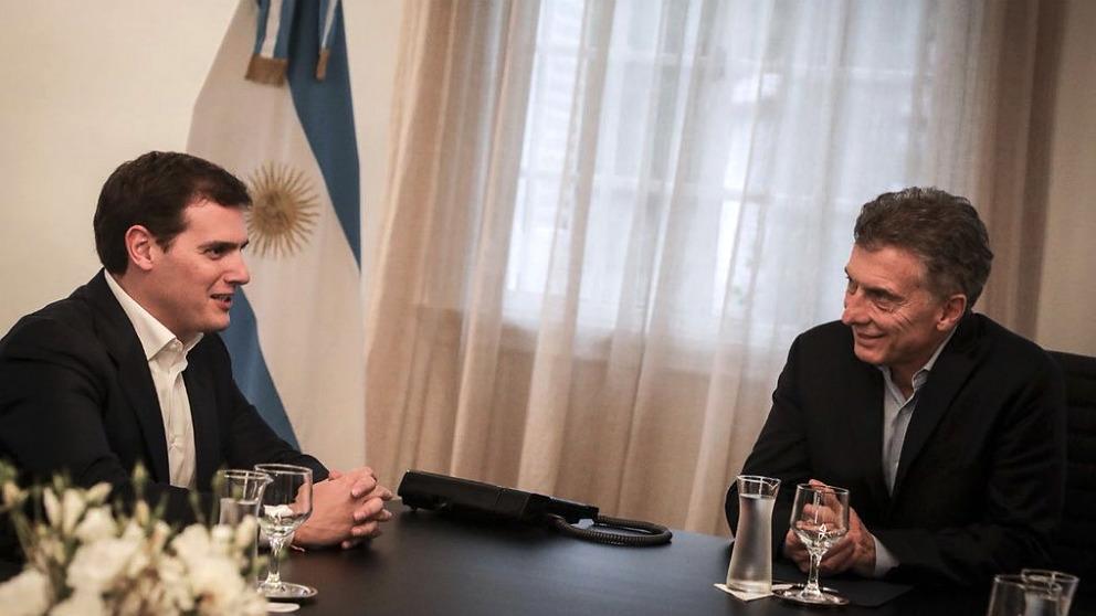 Albert Rivera, durante su reunión con Mauricio Macri, presidente de Argentina, en Buenos Aires.