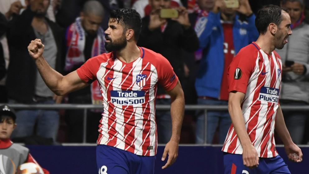 Diego Costa celebra el gol del Atlético. (AFP)