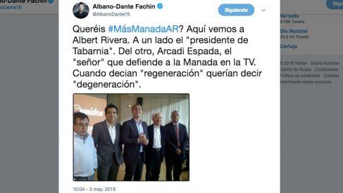 Tuit de Albano Dante Fachin en el que compara a Rivera y a Boadella con 'La Manada' de Pamplona