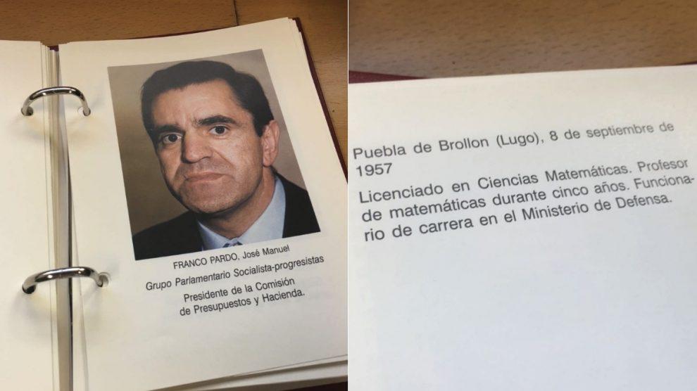 Ficha de José Manuel Franco en el 'Quién es quién'. (Foto. OKDIARIO)