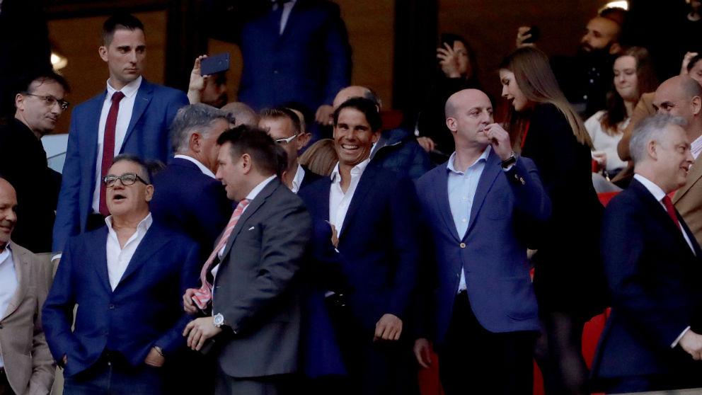 Rafa Nadal, en el palco del Wanda Metropolitano. (EFE)