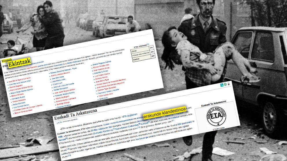 La Wikipedia en euskera llama «acciones» a los atentados de la banda terrorista ETA