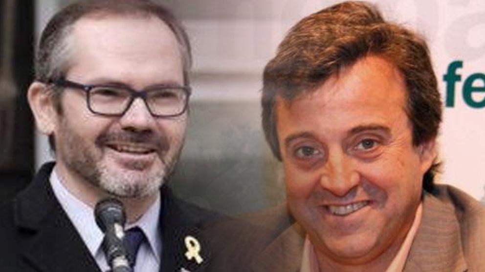 El vicepresidente del Parlament, Josep Costa, y el ex alcalde de Sardañola del Vallés (Barcelona), Antoni Morral.
