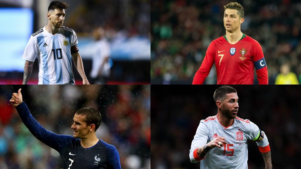 Leo Messi, Cristiano Ronaldo, Antoine Griezmann y Sergio Ramos.