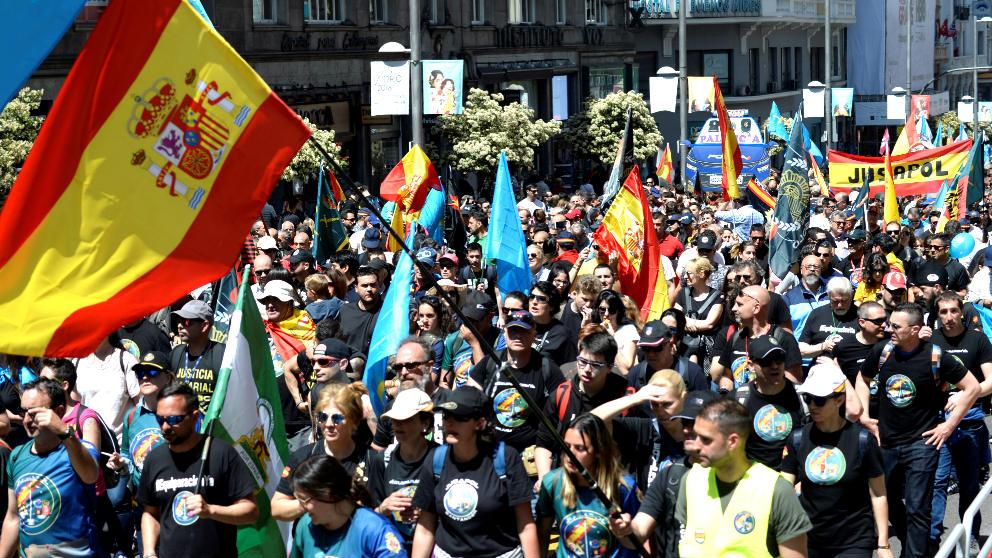 Manifestación de policías y guardias civiles en Madrid (Foto: Efe).
