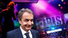 El ex presidente José Luis Rodríguez Zapatero, sobre una imagen de la discoteca Eibisi, donde sucedieron los hechos.