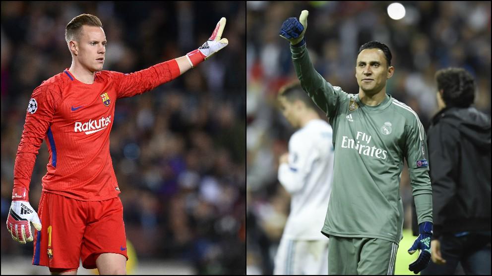 Ter Stegen y Keylor Navas.   Barcelona – Real Madrid   Clásico