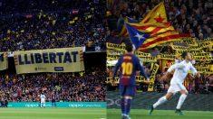 Esteladas y carteles pidiendo la libertad de los golpistas en el Clásico. | Barcelona – Real Madrid