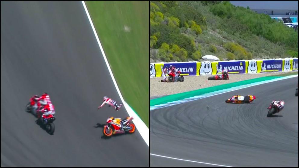 Accidente entre Pedrosa, Lorenzo y Dovizioso. (Capturas de pantalla)