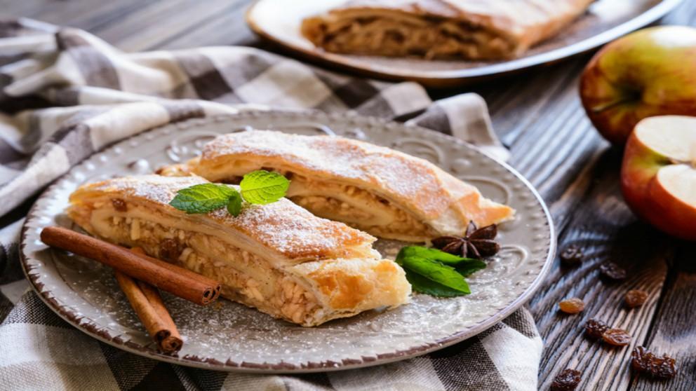 Receta de strudel de pera y queso fresco de cabra