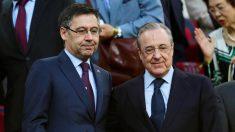 Bartomeu y Florentino Pérez, en el palco del Camp Nou (EFE).