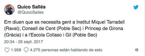 Tuit del independentista Sallés llamando a tomar los colegios el 1-O