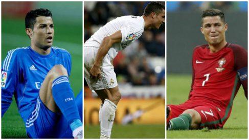 Cristiano Ronaldo y sus lesiones más cruciales. (Fotos: EFE y AFP)