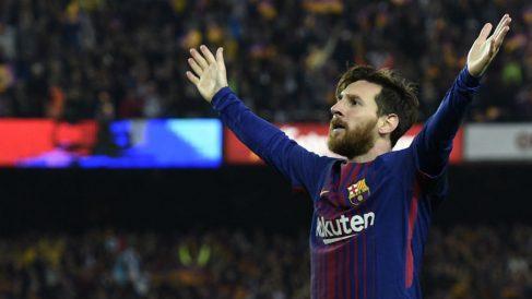 Leo Messi celebrando un gol del Barcelona.