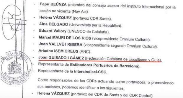 Listado de cabecillas de los CDR, entre ellos el pte. de la Federación de Boy Scouts de Cataluña, Joaqn Guisado
