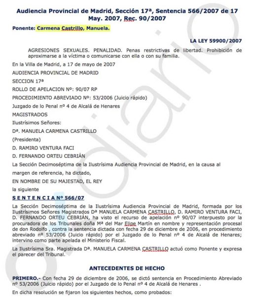 Carmena absolvió a un condenado por intento de violación al no apreciar «propósito libidinoso» ni «excitación»