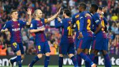 Los jugadores del Barcelona celebran uno de los goles frente al Villarreal. (Getty)