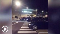Carreras ilegales en el aparcamiento del Wanda Metropolitano.
