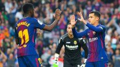 Coutinho y Dembele celebran el primer tanto del Barça (Getty).