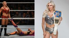 Charlotte Flair durante un combate de WWE.
