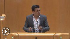"""El senador de Compromís, Carles Mulet, tildando de """"franquista"""" a Don Pelayo en su intervención"""