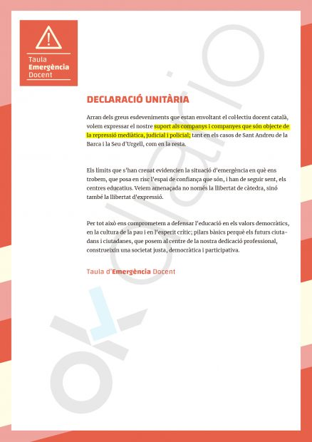 La 'Declaración Unitaria' que UGT manda a colegios e institutos