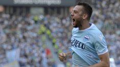 De Vrij celebra un gol con la Lazio esta temporada. (Getty Images)
