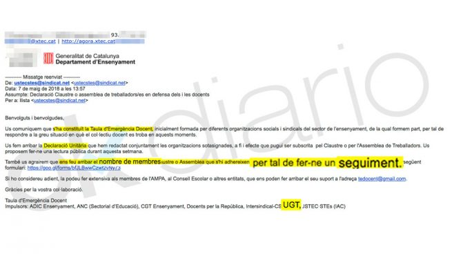 La carta de UGT Cataluña para hacer