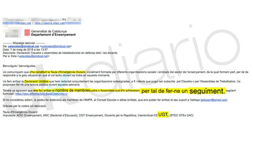 """La carta de UGT Cataluña para hacer """"un seguimiento"""" de los profesores según su ideología"""