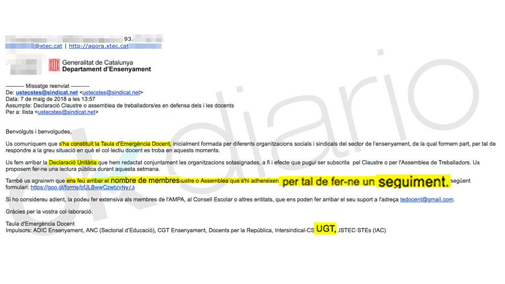 La carta de UGT Cataluña para hacer «un seguimiento» de los profesores según su ideología