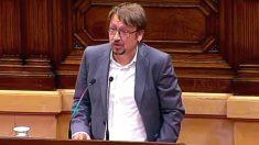 El líder de Catalunya En Comú Podem, Xavier Domènech, en el pleno de investidura de Quim Torra en el Parlament