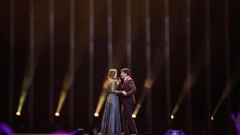 Amia y Alfred en su actuación en 'Eurovisión 2018'