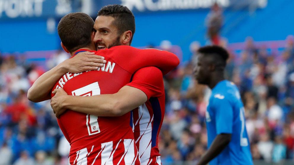 Griezmann celebra el gol de Koke durante el Getafe – Atlético. (EFE)