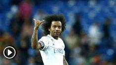 Marcelo, hace un gesto a la afición tras el Real Madrid – Celta. (AFP)