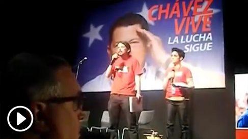 Pablo Iglesias en el homenaje a Hugo Chávez.