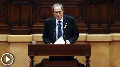 Quim Torra en su discurso de investidura en el Parlament de Cataluña. (Foto: AFP)