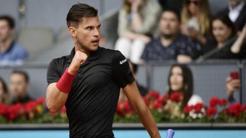 Thiem celebra un punto frente a Anderson en el Mutua Madrid Open. (AFP)