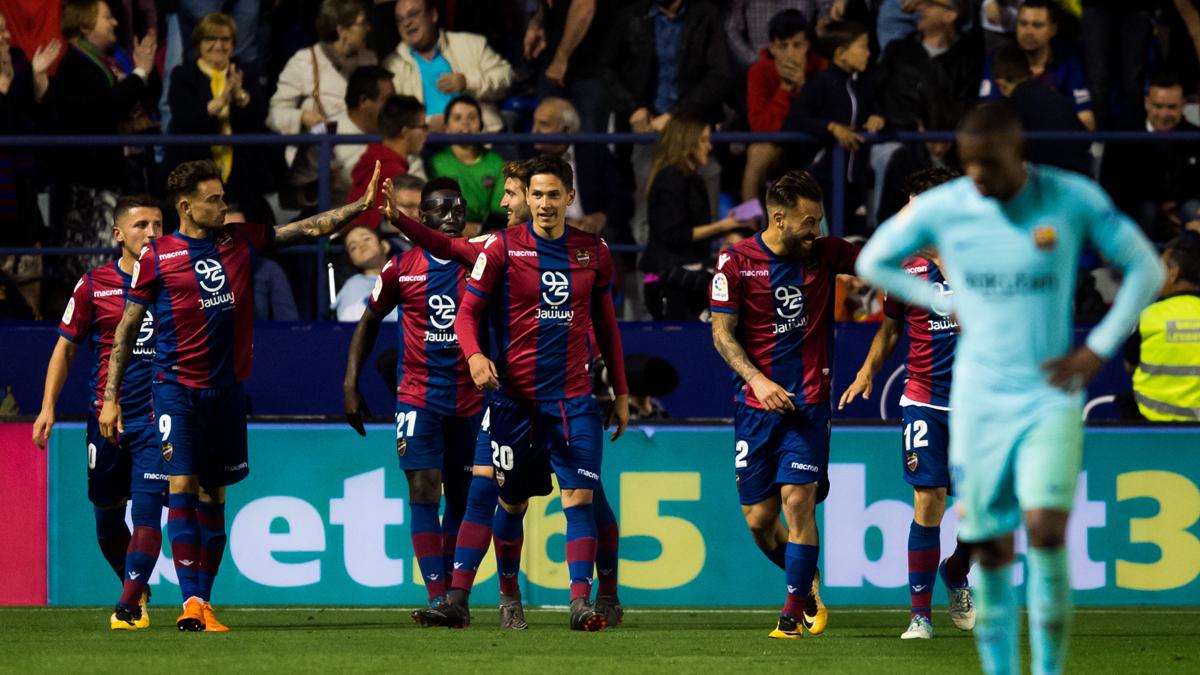 Los jugadores del Levante celebran uno de los goles (Getty).