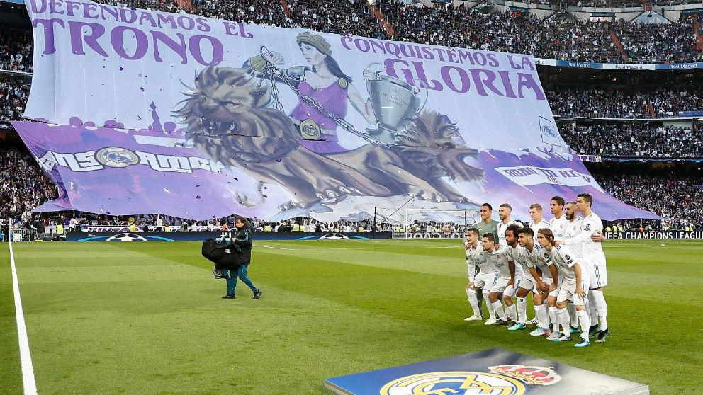 Mosaico de la Grada Fans en la vuelta ante el Bayern. (Realmadrid.com)