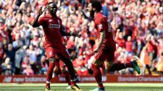 Salah celebra un gol con el Liverpool. (Getty)
