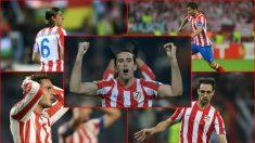 Filipe Luis, Gabi, Koke, Godín y Juanfran, supervivientes de la última final del Atlético en la Europa League.