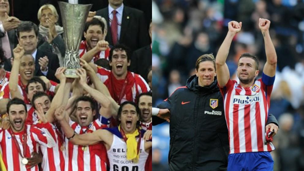 Antonio López levanta la Europa League con Gabi y el capitán del Atlético de Madrid con Fernando Torres.
