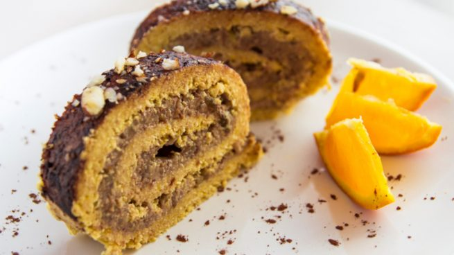 brazo de gitano de chocolate y naranja