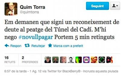 """Torra se saltó un peaje en 2012 junto a su hijo: """"¡Qué multa ni que hostias!"""""""